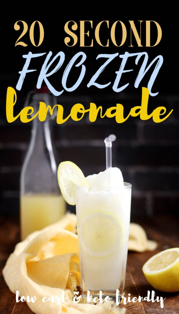 A frozen lemonade recipe that's sugar free, keto and made with just 3 ingredients. It takes less than 20 seconds to make! All you need is a blender, lemonade syrup, water and ice - it couldn't be easier! This will become your go-to summer drink for all occasions. Enjoy this refreshing treat guilt-free. :-)