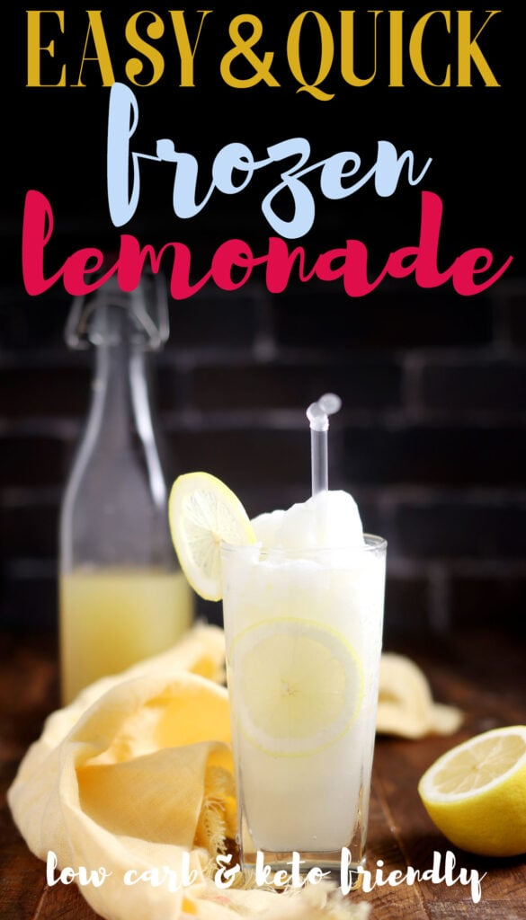 Enjoy the refreshing taste of this frozen lemonade recipe. It's great for summer days and picnics! The best part? You can make it even more fresh by using fresh squeezed lemons! This amazing and easy recipe is made with real lemons, ice and keto approved sweeteners.