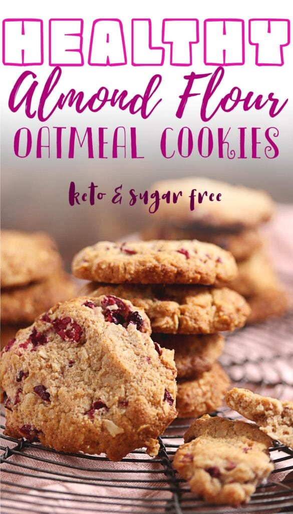 These keto oatmeal cookies are just the thing for those who love a sugar-free, gluten-free dessert! The recipe uses almond flour and cranberries which not only make them taste delicious but they give these low carb snacks some added health benefits too. Get ready to drool over this simple cookie dough that's loaded with flavor! Made without oats but with almond slices and coconut flakes to keep it low carb, it's one of the best low carb cookie you'll ever make!