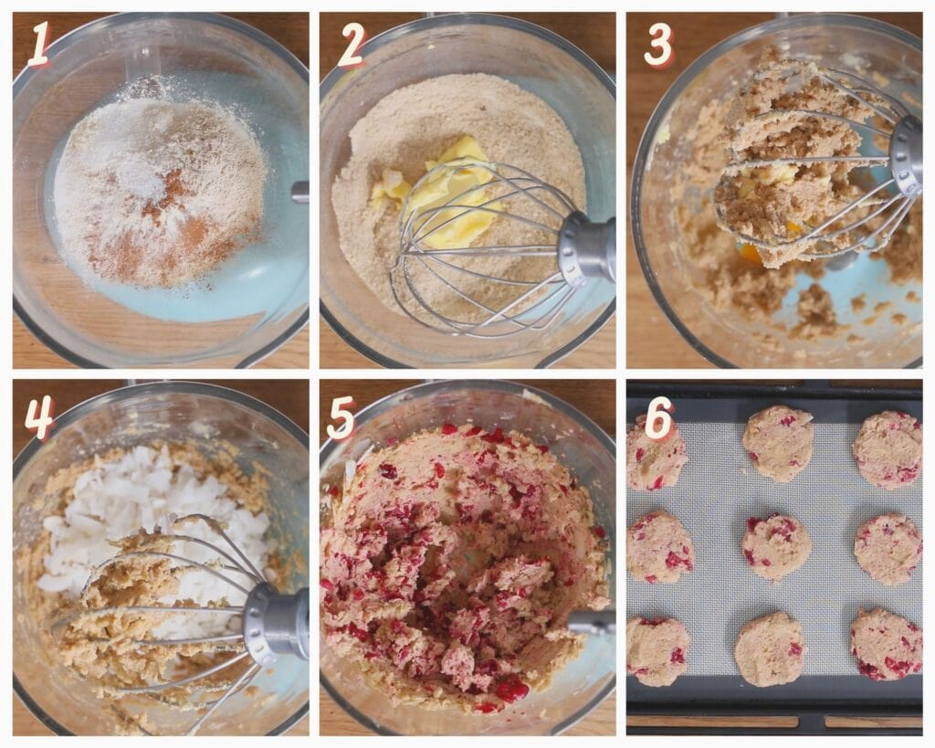 Images showing how to make almond flour cranberry oatmeal cookies.