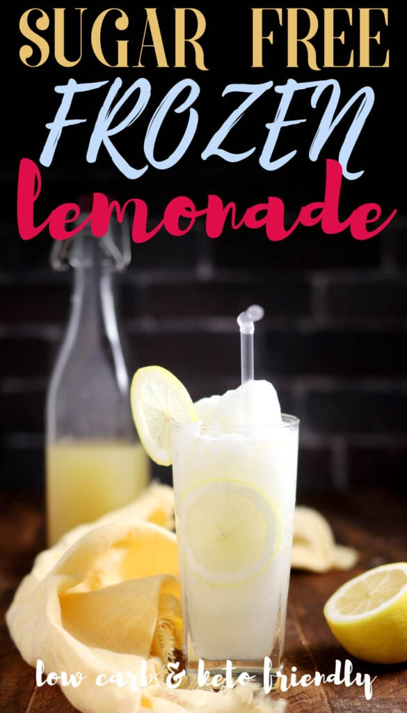Add ice, lemonade syrup and water to your blender. Blend on high for about two minutes or until the mixture is very smooth. Pour into a glass and you have yourself a lemonade frosty! This recipe makes one serving of frozen lemonade in less than 1 minutes. It's healthy too, made without sugar or artificial ingredients. Now that you know how easy it is, you can make this refreshing sugar free frozen lemonade at home all summer long!