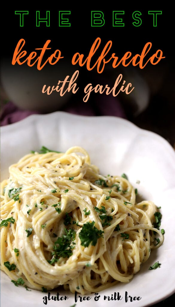 This recipe for Alfredo sauce is low carb and keto friendly. It's made with heavy cream, butter, garlic, and parmesan cheese. Whip up a batch in less than 10 minutes! No milk or flour needed! Easy to make and so tasty you'll want to add it on top of everything from your chicken pasta dish to pizza crusts. Serve this as a side too - even kids will love the rich flavor! The best part about this easy alfredo sauce? It's gluten free, low in carbs and everyone in the family are guaranteed to love it!