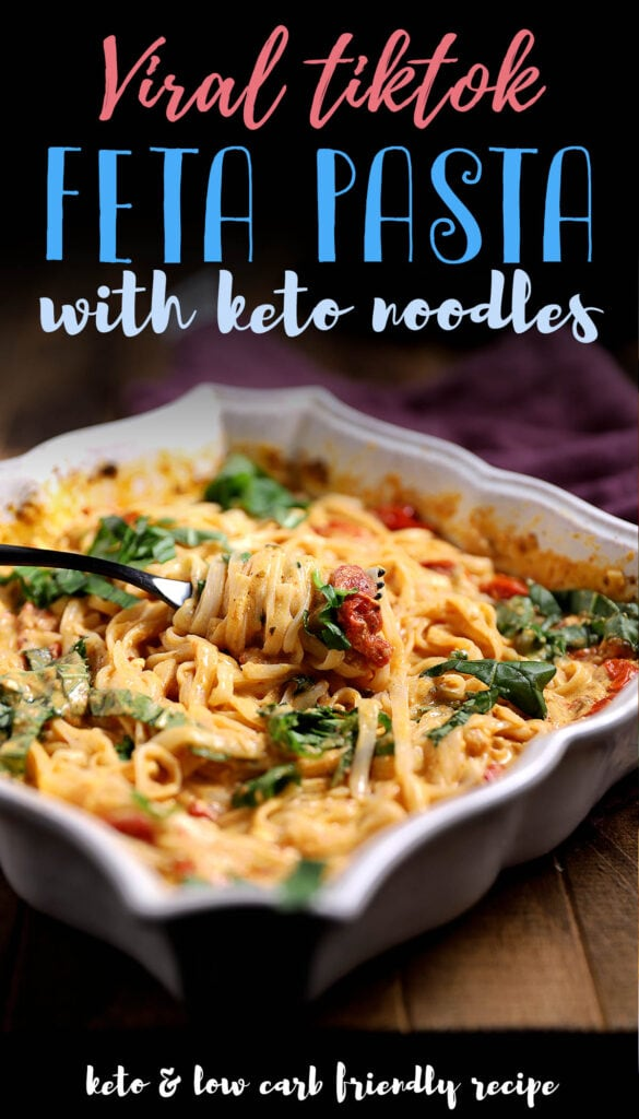 Learn how to make this keto pasta that's gluten free, easy to make and baked in the oven. This is the perfect recipe for when you're craving some comfort food without all of the carbs! Made with fresh tomatoes and feta cheese, this is one of the creamiest and healthiest pasta recipe you'll make this year!