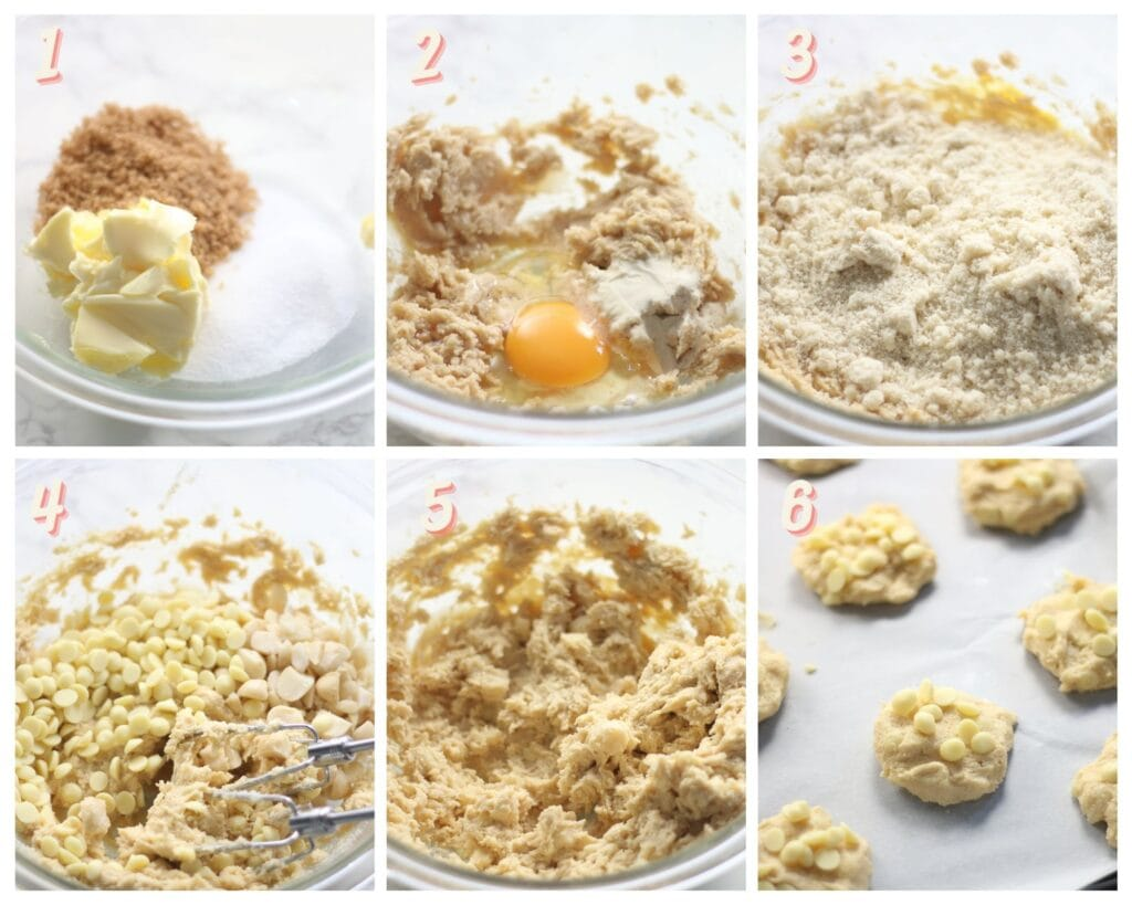 Images showing how to make gluten free white chocolate macadamia nut cookies.