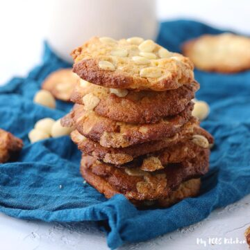 Soft and Chewy white chocolate macadamia nut cookies made with almond flour and keto friendly ingredients.